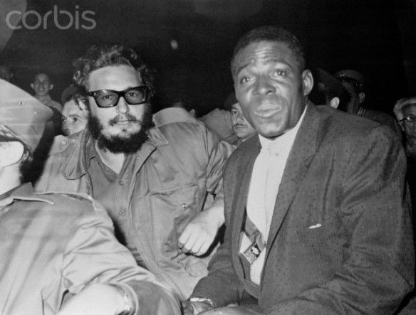 Fidel Castro Sitting Next to Baseball Player Minnie Minoso